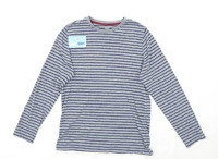 F&F Boys Striped Grey Top Age 13-14