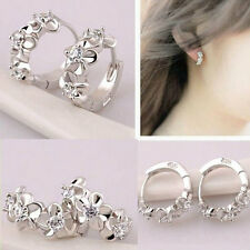 1 Pair Women Fashion Silver Plated Hoop Flower Crystal Clip Stud Earrings