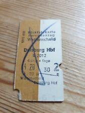 Deutsche Bahn Alte Rückfahrkarte Personenzug Wattenscheid nach Duisburg 1958