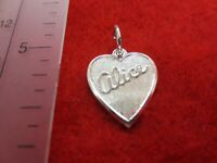 STERLING SILVER PLATED  HEART SHAPED BRUSHED ALICE NAME CHARM PENDANT