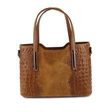 Maurine Italian Leather Ladies Handbags -  Cognac Suede Crocodile Print Handbag