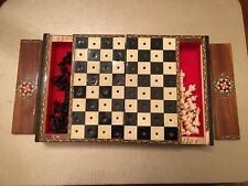 vintage lacquered wood travel chess set