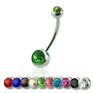 """Double Gem Extra Long Sizes Steel Navel Ring Belly Button Ring 14G 5/8"""" 16mm"""