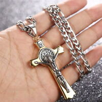 316L Men's Stainless Steel Religious Large Cross Pendant Necklace with Chain
