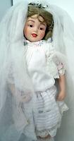 "Playing Bride $200 Maud Humphrey Bogart Hamilton Porcelain Dolls 16"" Stand 1990"