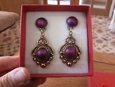 Brand new large antique gold look clip-on earrings with purple satin middles+box