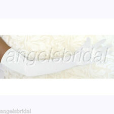 "23"" WHITE LONG STRETCH SATIN BRIDAL WEDDING GOWN PROM DRESS EVENING OPERA GLOVES"