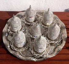 27-Pc-Turkish-Greek-Arabic-Coffee-Espresso-Cup-Saucer Swarovski Set -SILVER