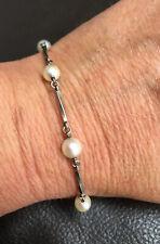 Vintage 1960s, Solid Sterling Silver and Natural Cultured Pearl Bracelet.