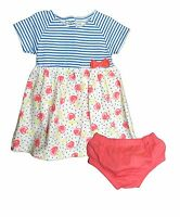 NWT New Koala Baby Girls 2 PC Dress & Bloomer Set Pink/Blue Multi Cherries