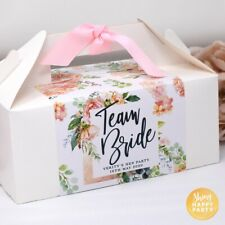 PERSONALISED Large Rose Gold Team Bride Hen Birthday Wedding Party Favor Box Bag