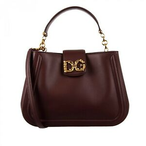 DOLCE & GABBANA Leather Shoulder Bag DG AMORE with Pearls Logo Wine Red 09716