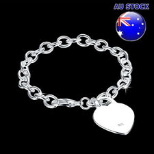 Wholesale 925 Sterling Silver Filled Solid Heart Bracelet Heart Pendant