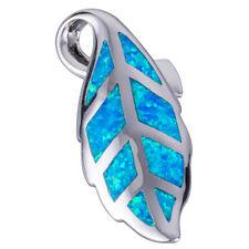 Leaf Ocean Blue Fire Opal Silver Jewelry Necklace Pendant