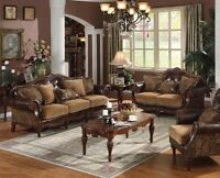 2pc Sofa Set Formal Luxurious Tufted Bonded Leather Sofa & Loveseat Chenille