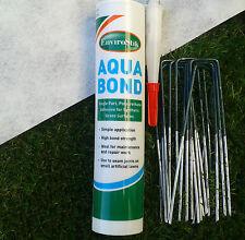 Artificial grass turf glue fixing joining kit, tape & staple pins.  AQUA BOND