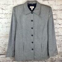 TALBOTS Womens Size 12 Navy White Chevron  Five Button Blazer Rayon Silk Blend