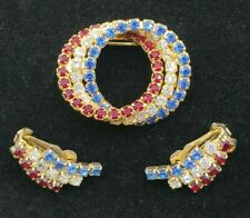 Circle Patriotic Brooch and Earring Set Vintage Red White Blue Rhinestone Triple