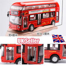 Sound and light Metal Double-Decker Tour City Bus Red Pull Back Car Kid Toy YP