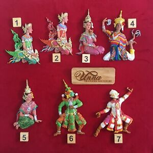 Resin Thai culture doll handmade hand painted red green gold pink set of 7 piece