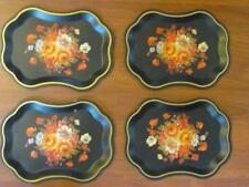 Set 4 Vintage Gorgeous Black/Gold/Roses Floral Toleware Mini Trays 7x9.25 Inches