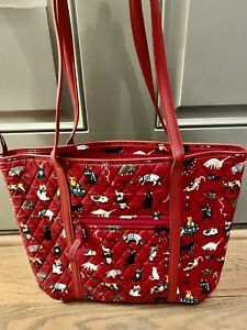 Vera Bradley Holiday Cats Meow Red Kittens Small Trimmed Vera Tote Purse Bag NWT