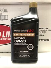 1 x Honda Genuine Engine Oil Synthetic Blend 0w-20 Quart 0.946 Liter
