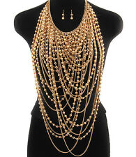 LUXE Statement Runway Gold Faux Pearl Necklace  Necklace Set By Rocks Boutique