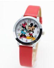 Kids Girls Mickey & Minnie Mouse Wrist Watch Analogue Leather Strap Slim Red