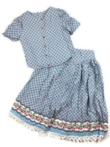 Girls Vintage 2 Pc Set Cherries Picnic Outfit Skirt Top Blouse 10 12 Blue Red