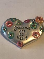 "Grandma Are All Heart Glitter Pink Flower Silver Tone Pin Brooch Jewelry 1.5"""
