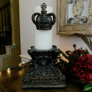 Crown Pillar Candle Pin with cross and fleur de lis. Royal Queen King Princess