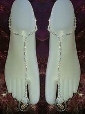 *UK Handmade* glass crystal ladies elasticated bare foot sandals/beach/wedding
