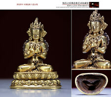 An antique Tibetan Buddhism Vajradhara buddha statue gilt-bronze Vajra deity