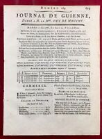 Bernardin de Saint Pierre 1788 Arcadie Bordeaux Gironde Rare Journal de Guienne
