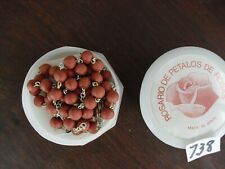 Antique Catholic Rosary Rose Petals Christianity 46 cm Spain in box history  738