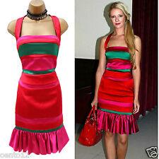 Karen Millen Red Satin Halter Neck Dress UK 10 Striped Wiggle DL205