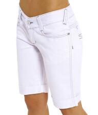 Womens Denim Longline Shorts Ladies White Short Size 6 8 10 12 14 16