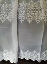 VENICE VOILE EMBROIDERED INSET DESIGN MADE TO MEASURE NET CURTAINS WHITE
