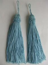"Pair Tassels Teal Color Yarn Fabric 7"" long 1"" wide New"