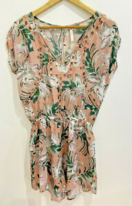 Seafolly designer blush pink tropical print embroidery cut out playsuit XS/8 EUC