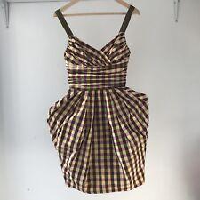 CUE Womens Vintage Plaid Strappy Cocktail Mini Dress, AU Size 6