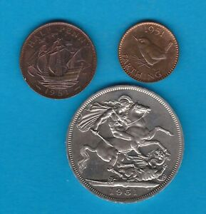 THREE 1951 PROOF CROWN, HALFPENNY & FARTHING IN NEAR MINT CONDITION