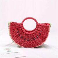 Women Hand-woven Straw Watermelon Bag Round Handle Ring Tote Retro Summer Beach