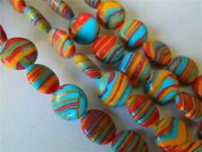 "Charming!!! 12mm Multicolor Turkey Turquoise Gemstone Coins Loose Bead 15""#MJ189"