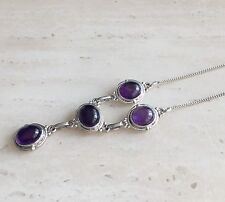 STUNNING PURPLE AMETHYST & 925 STERLING SILVER NECKLACE