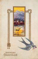 Birthday Greetings c1910 Embossed Postcard Mountain Village Bluebird Seires 850
