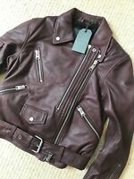 "ALL SAINTS WOMEN'S BORDEAUX RED ""HARLAND"" LEATHER BIKER JACKET - UK 8 - NEW TAGS"
