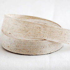 3 Metros de Cinta Cinta de Tela Algodón Lino Liso recorte Etiqueta de costura en Blanco - 1.5cm