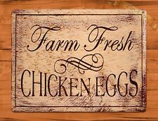 TIN SIGN Barnyard Farm Fresh Chicken Eggs Dairy Rooster Decor Farm Barn Coop